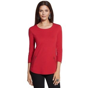 Chico's Red Madison Scoop Neck Zipper Detail Top